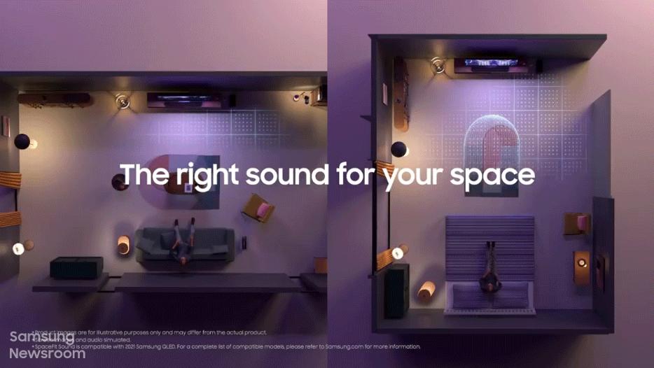Функция SpaceFit при каждом включении ТВ проводит анализ пространства, для оптимизации настроек аудио